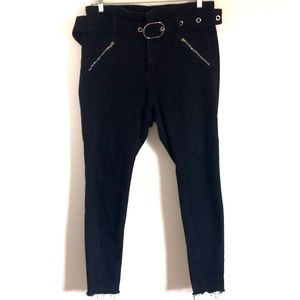 Fashion Nova Black Skinny Paper Bag Jeans sz 14